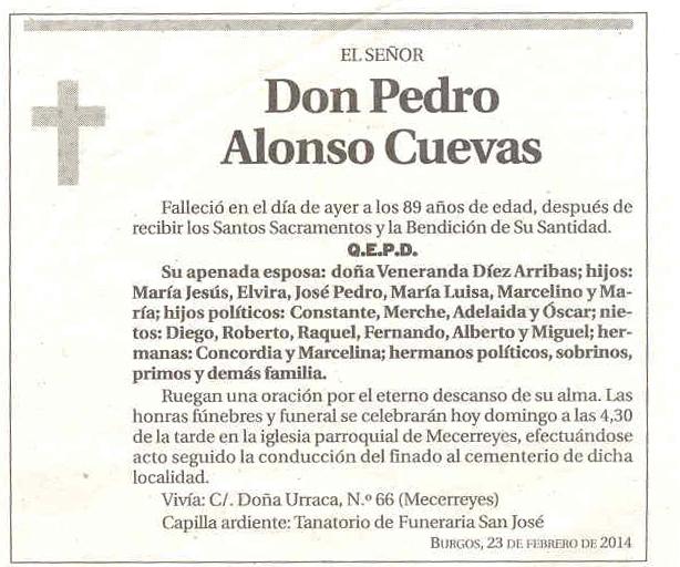 Esquela Pedro Alonso Cuevas