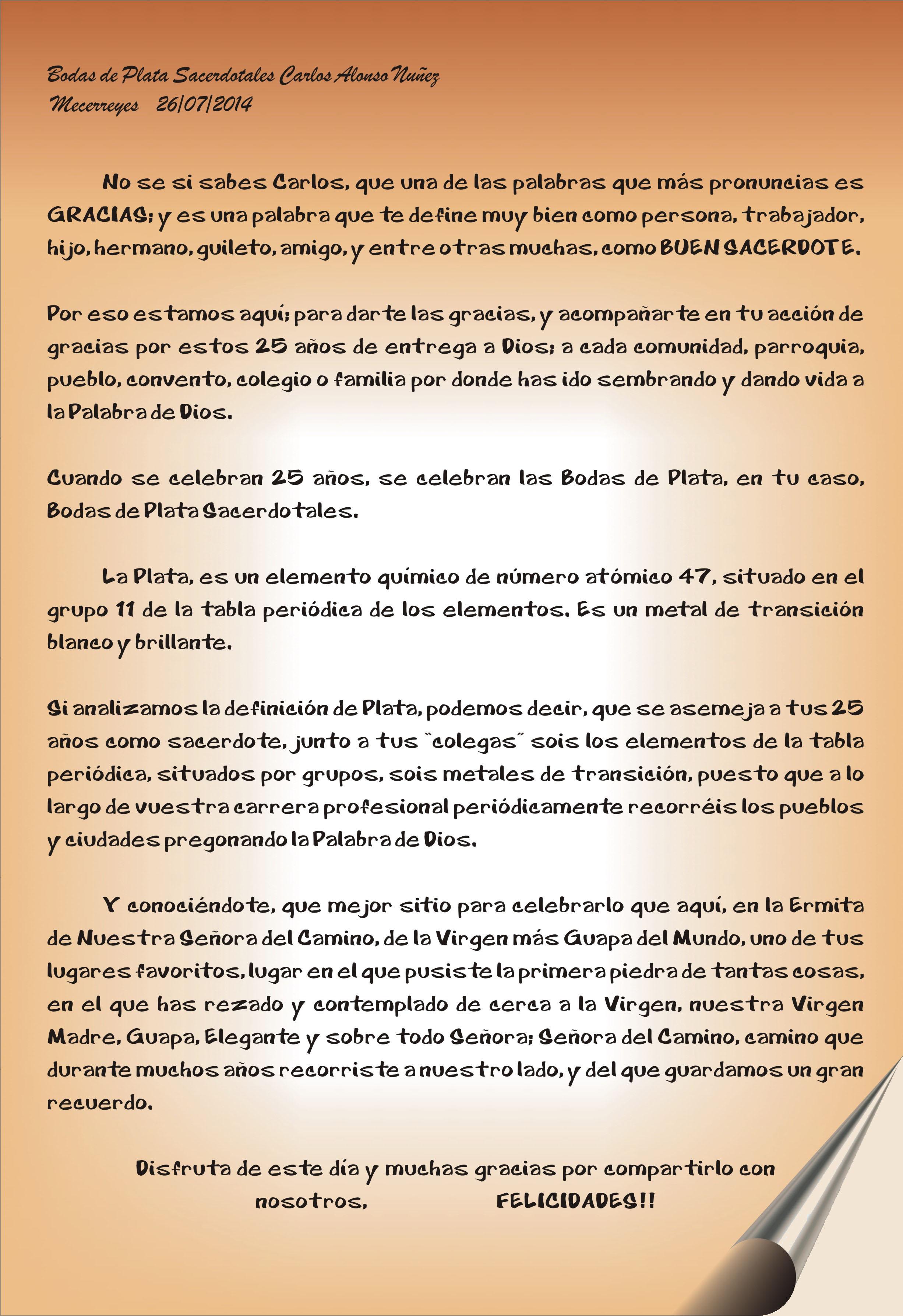 Mecerreyes, Bodas de plata Sacerdotales de Don Carlos 26-07-2014