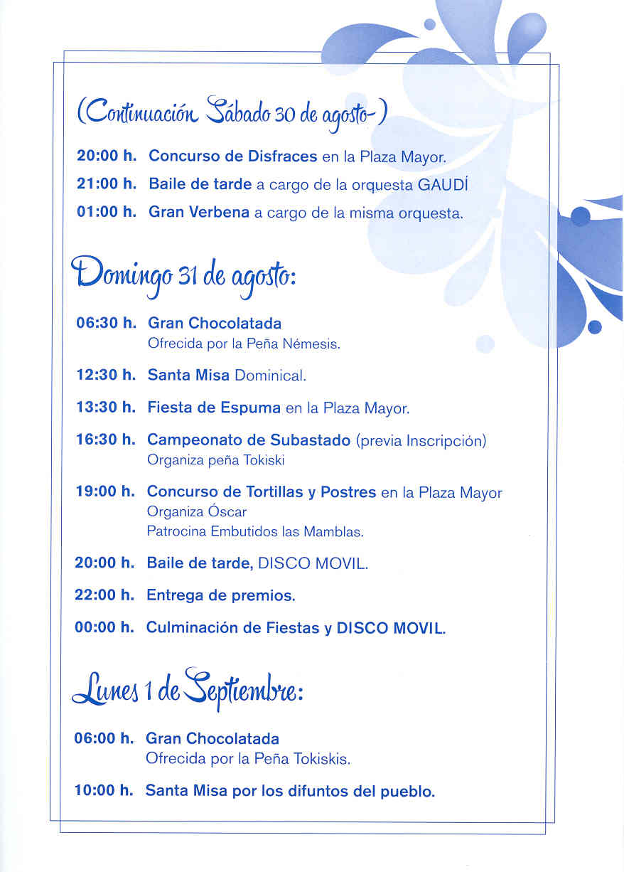 Mecerreyes, Programa Fiestas 27 a 31-08-2014