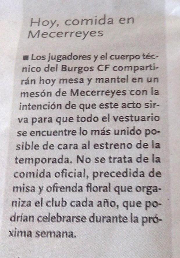 Recorte del Diario de Burgos