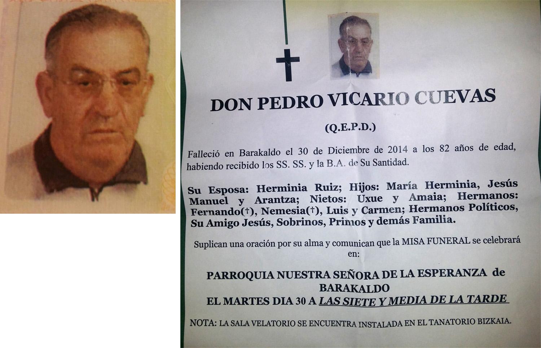 Esquela de Pedro Vicario Cuevas, falleció el 30-12-2014 en Baracaldo