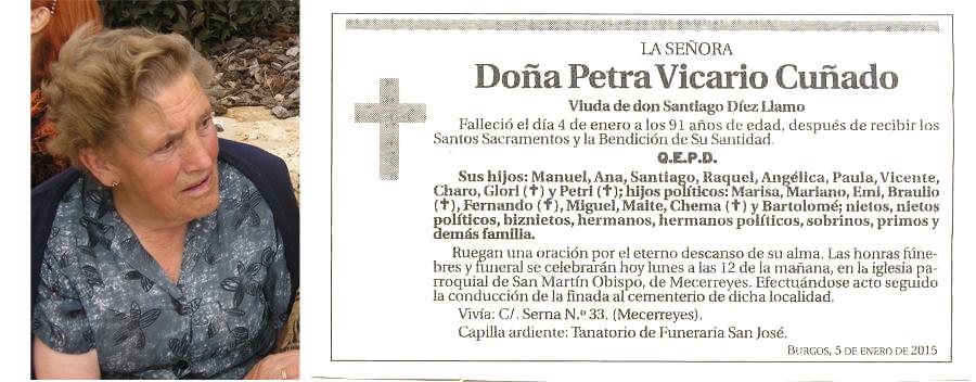 Esquela de Petra Vicario Cuñado, falleció el 4-01-2015 a los 91 años