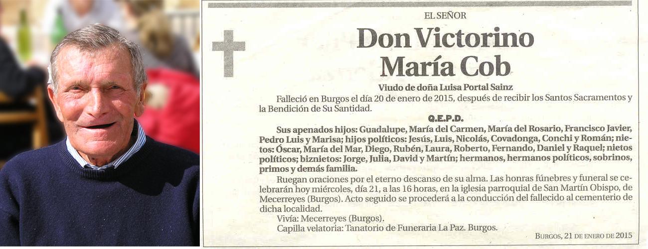 Esquela de Victorino Maria Cob, falleció el 20-01-2015