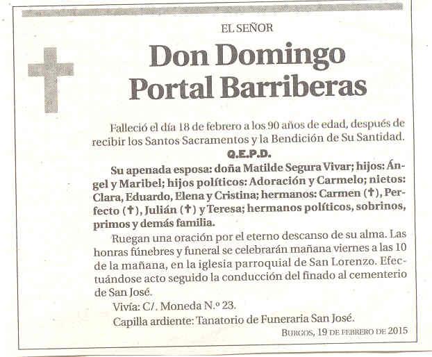 Esquela de Don Domingo Portal Barriberas. Falleció en Burgos a los 90 años.