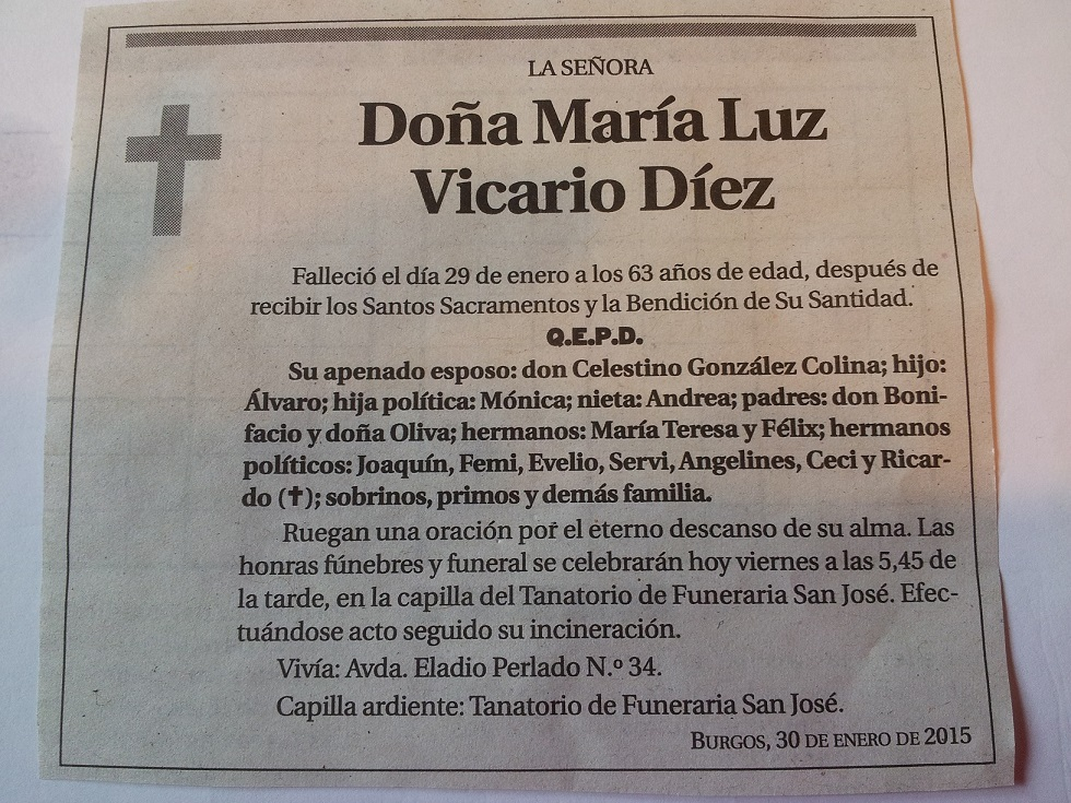 Esquela de María Luz Vicario Diez
