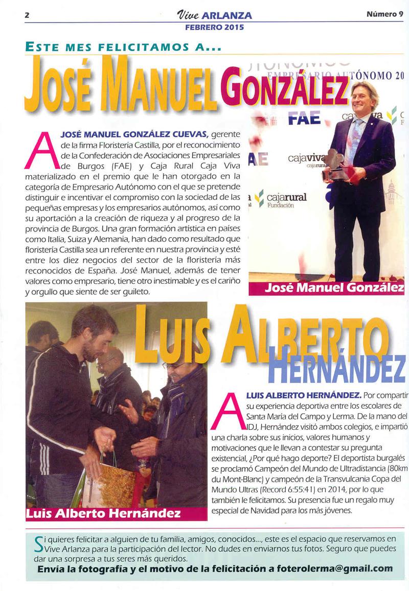 Vive Arlanza num 9-2015, 2.    Felicitación a José Manuel González.
