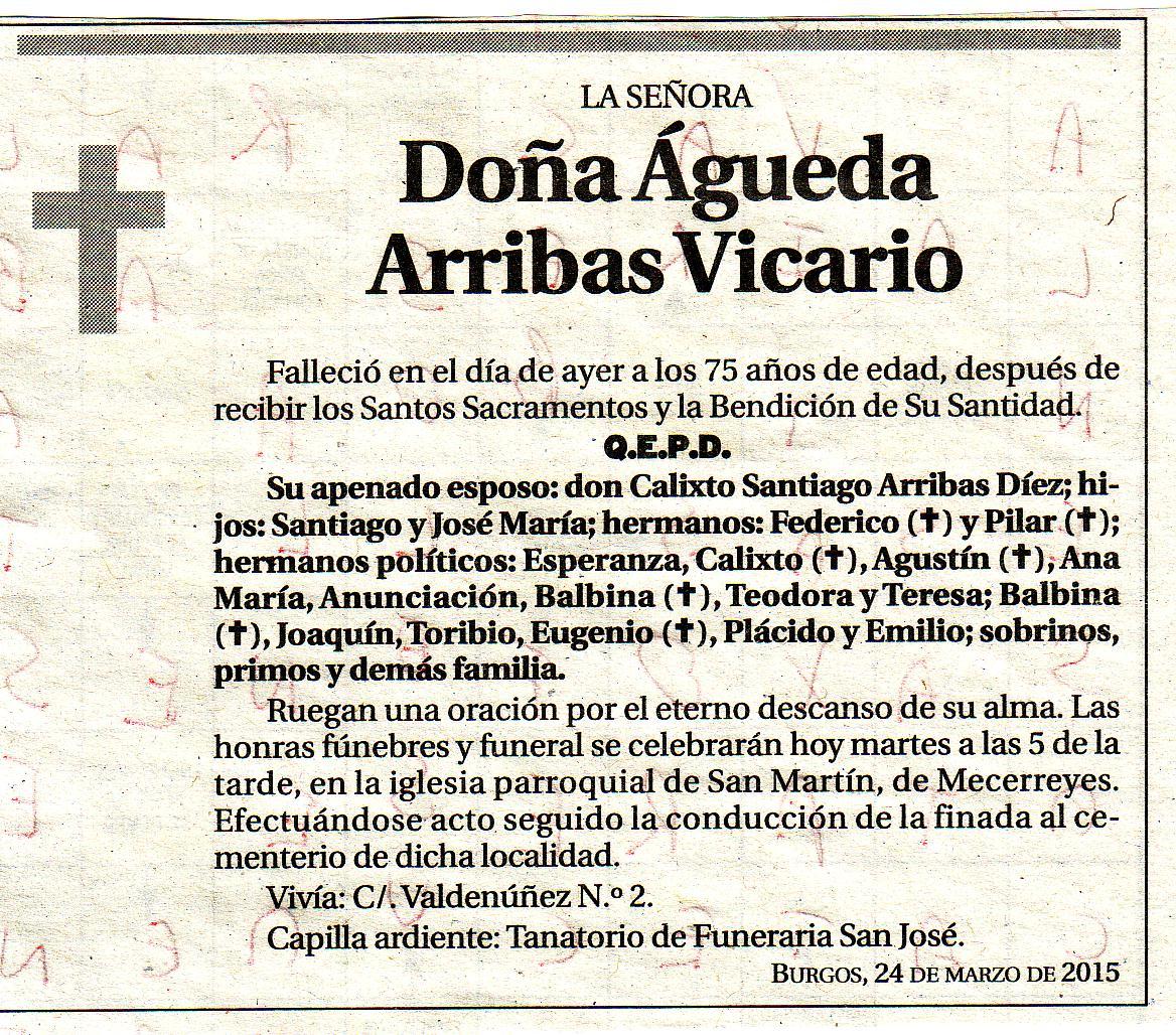 Esquela de Dª Águeda Arribas Vicario. Falleció en Burgos a los 75 años