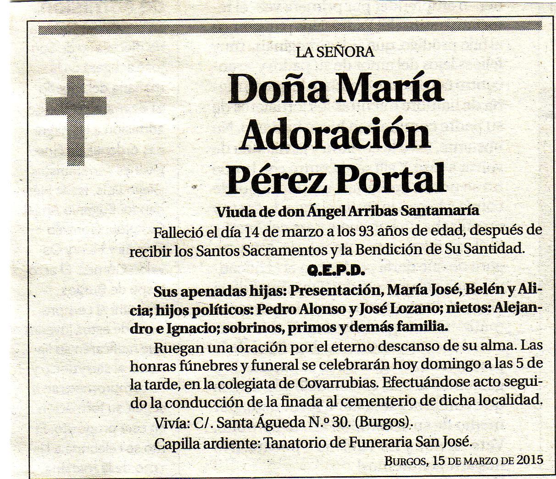 Esquela de Dª Adoración Pérez Portal. Falleció en Burgos a los 93 años