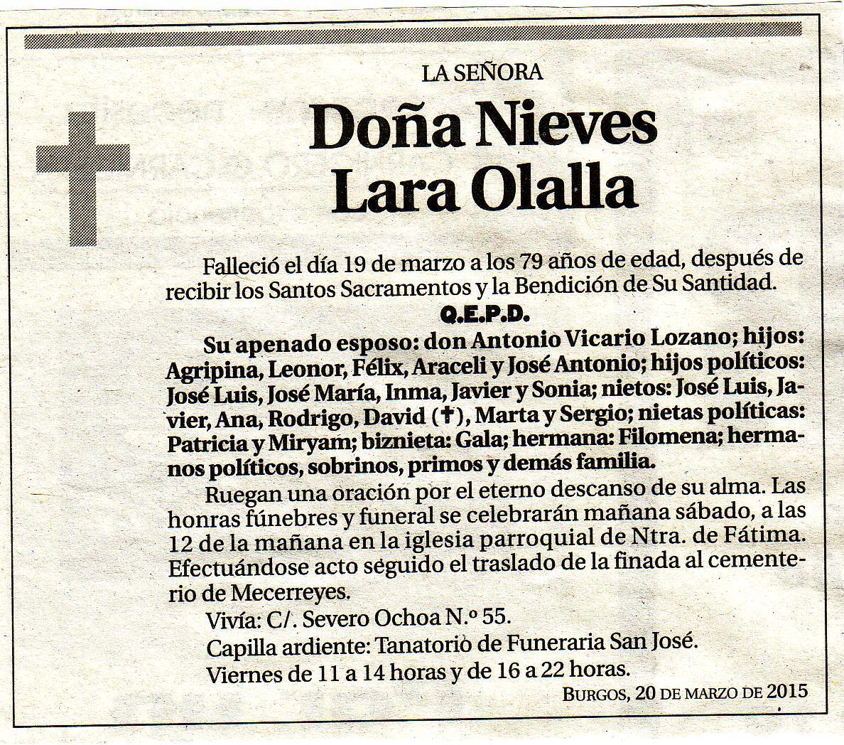 Esquela de Dª Nieves Lara Olalla. Falleció en Burgos a los 79 años