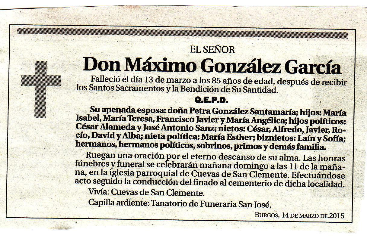 Esquela de Don Máximo González García. Falleció en Cuevas de San Clemente a los 85 años