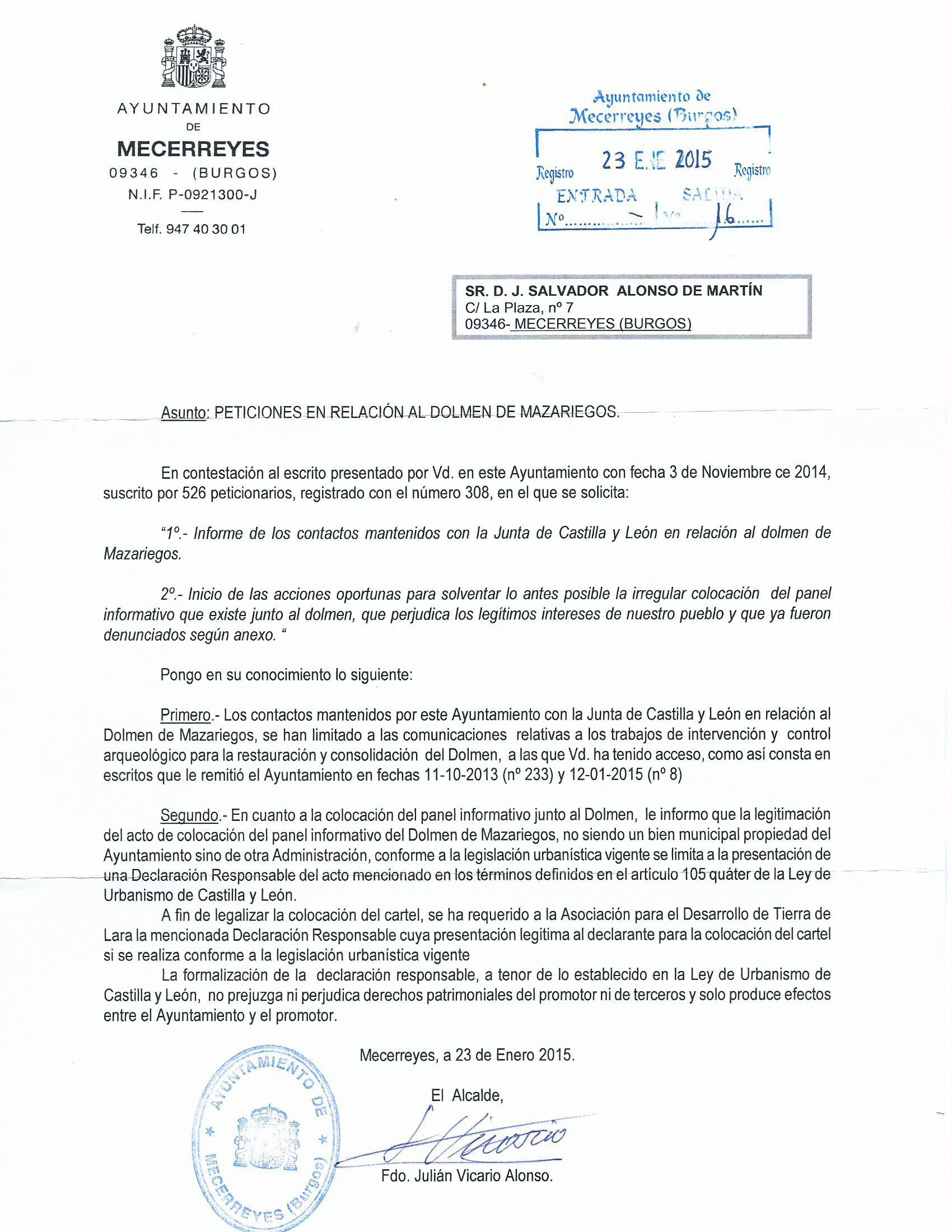 Respuesta del Ayuntamiento 23.01.15