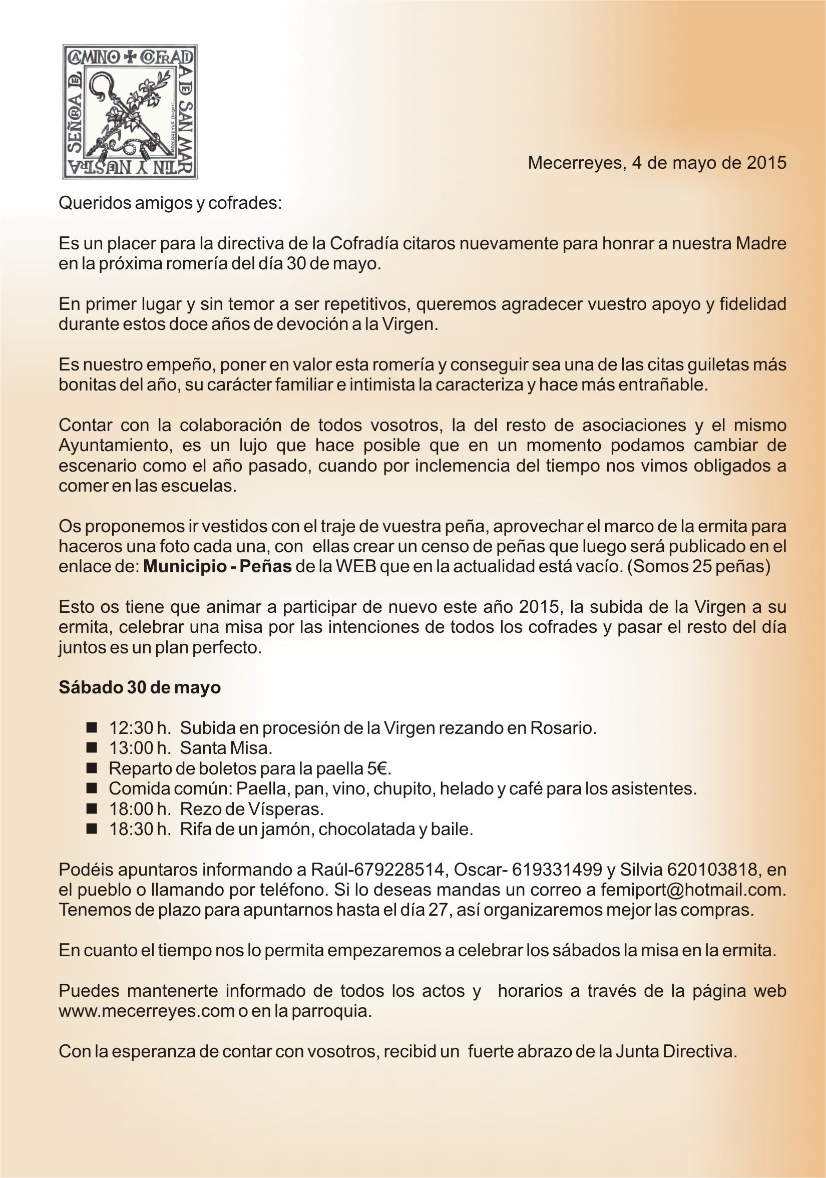 Mecerreyes, Carta Romería Mayo 2015