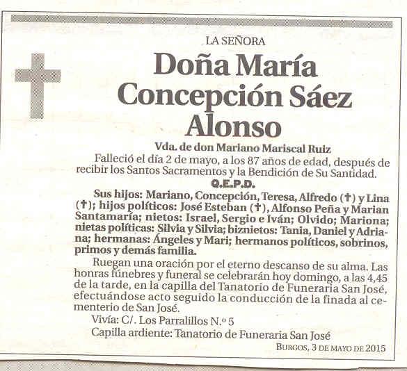 Esquela de María Concepción Sáez Alonso.