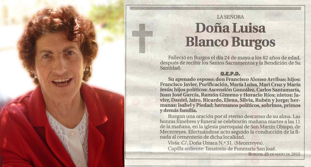 Esquela de Luisa Blanco Burgos. Falleció en Burgos a los 82 años
