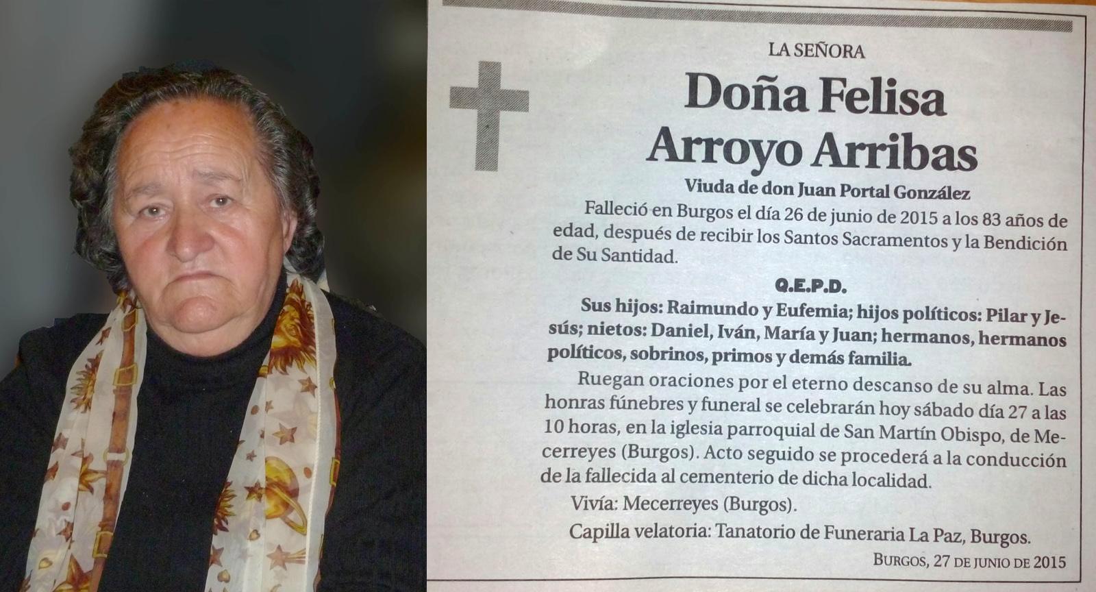 Esquela de Felisa Arroyo Arribas. Falleció el 26 de junio de 2015