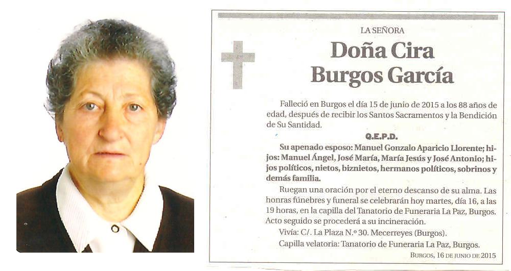 Esquela Cira Burgos García.