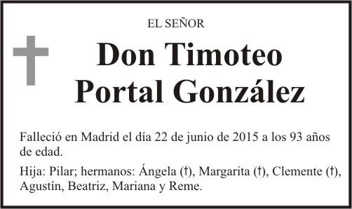 Esquela de Timoteo Portal González. Falleció el 22 de junio de 2015