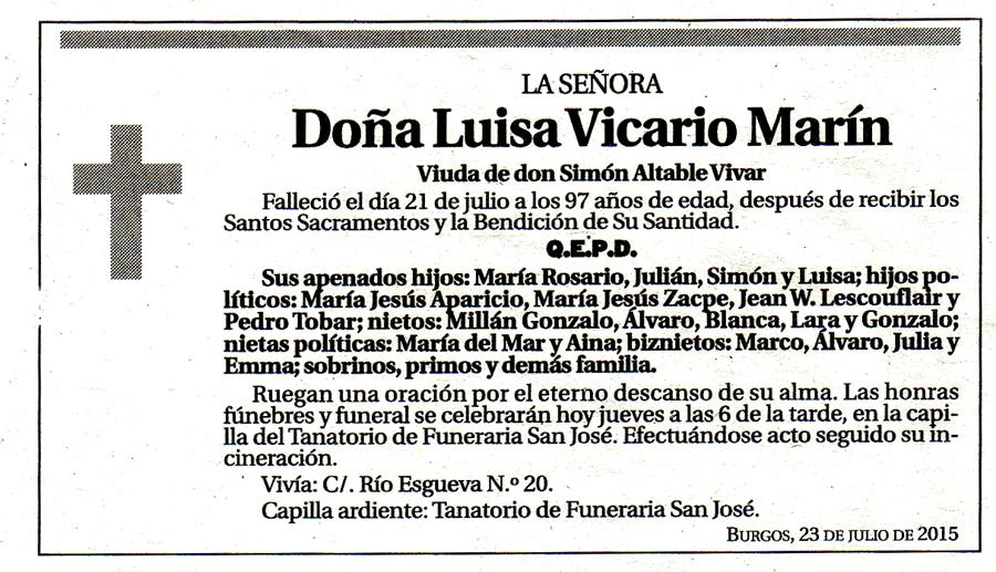 Esquela de Luisa Vicario Marín, falleció en Burgos el 21-07-2015 a los 97 años