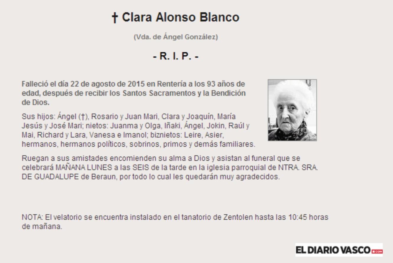 Esquela de Clara Alonso Blanco, falleció en Rentería, a los 93 años