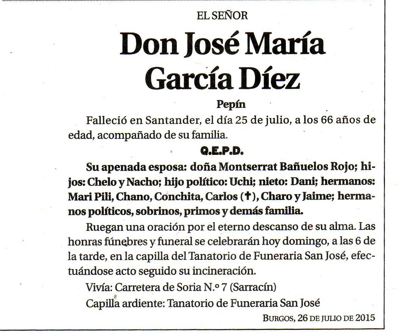Esquela de Pepín García Díez, falleció en Santander el 25-07-2015 a los 66 años