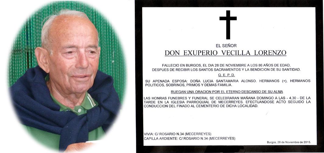 Esquela Exuperio Vecilla Lorenzo, falleció en Burgos el 28-11-2015 a los 86 años