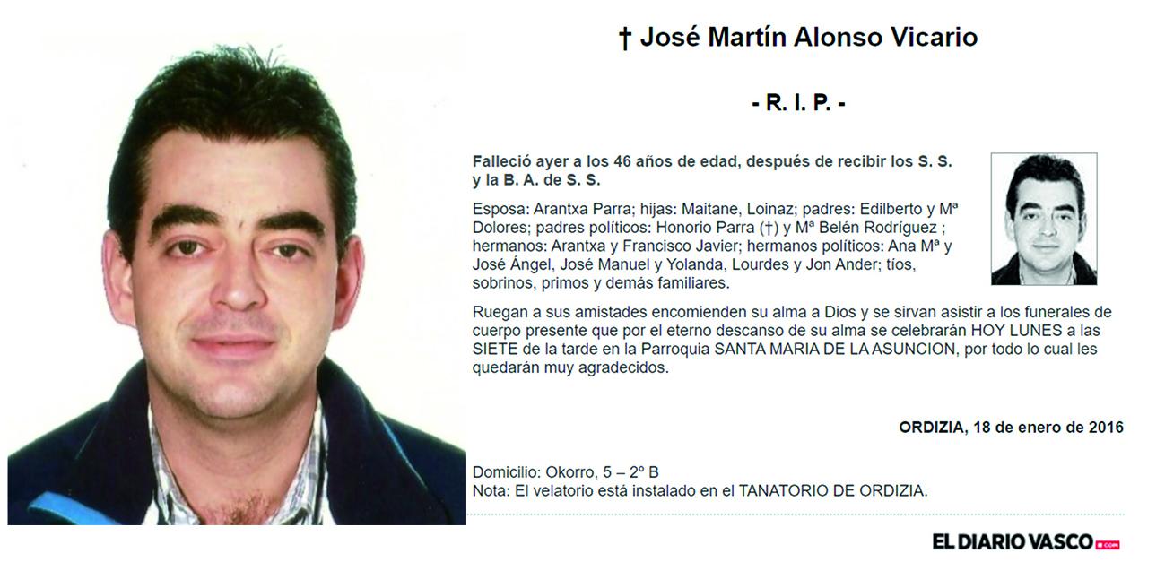 Esquela José Martín Alonso Vicario, falleció el 17-01-2016 a los 46 años