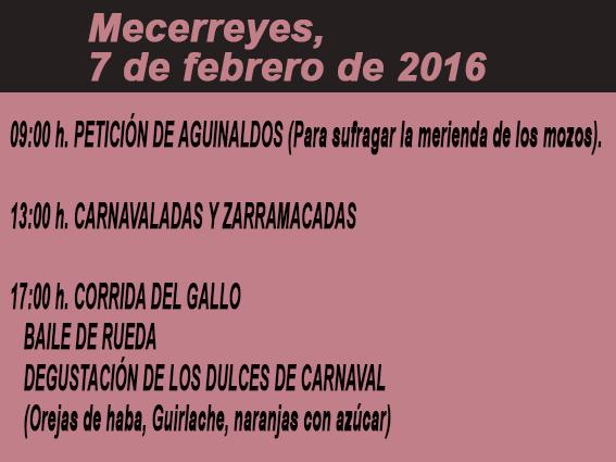 Mecerreyes, horarios Gallo 2016