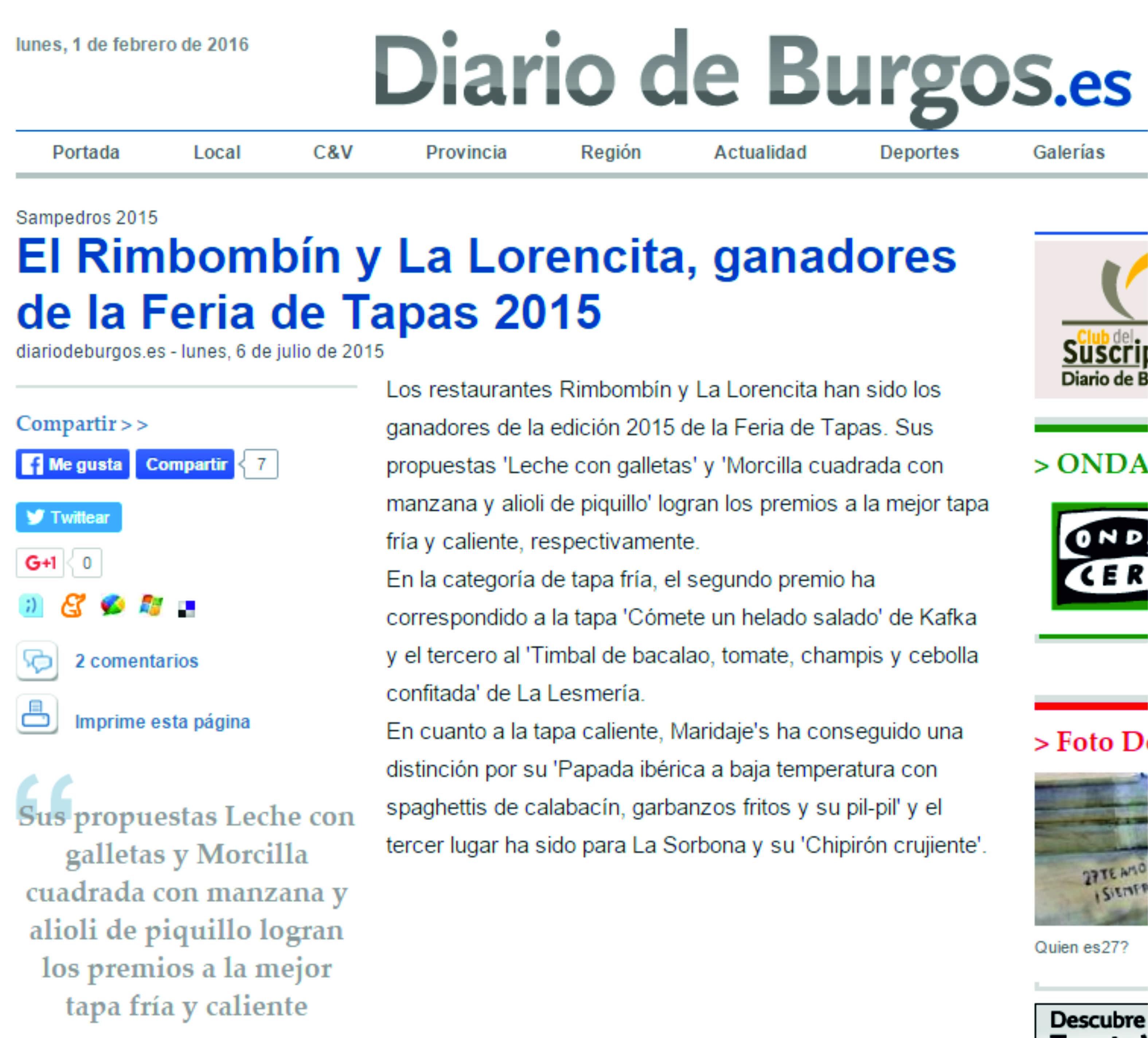 Diario de Burgos, Rimbombín ganador Feria Tapas 2015