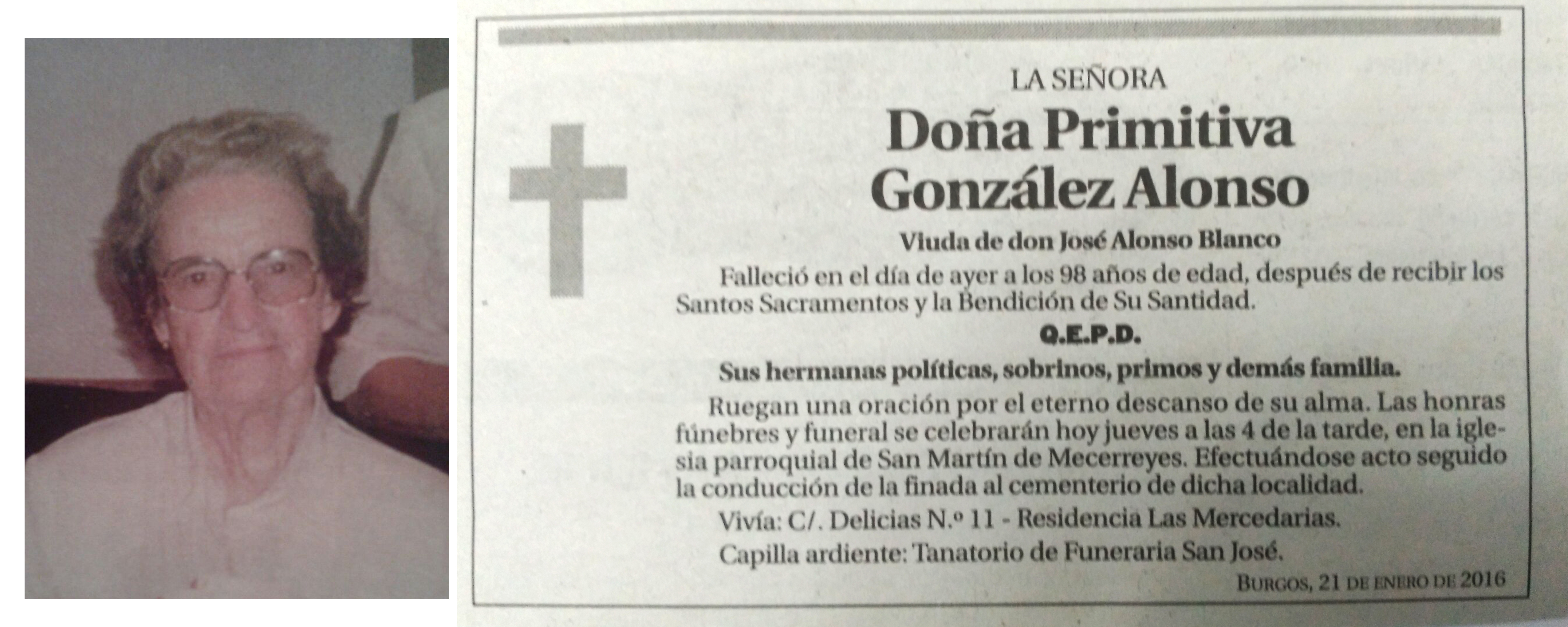 Esquela de Primitiva González Alonso, falleció el 20 de enero de 2016 a los 98 años