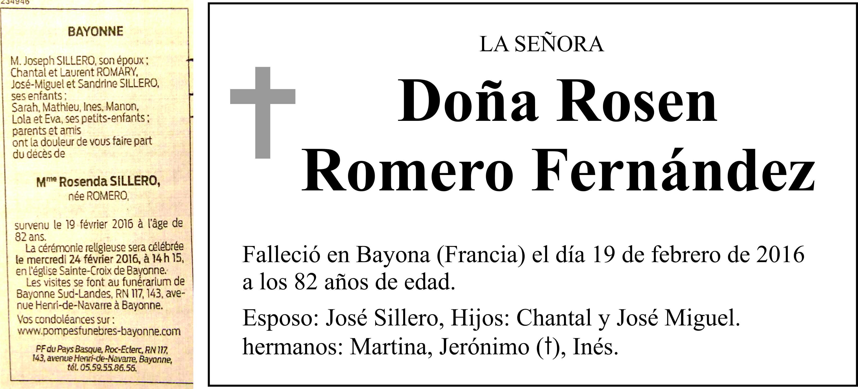 Esquela Rosen Romero, falleció el 19 de febrero de 2016, en Bayona, Francia