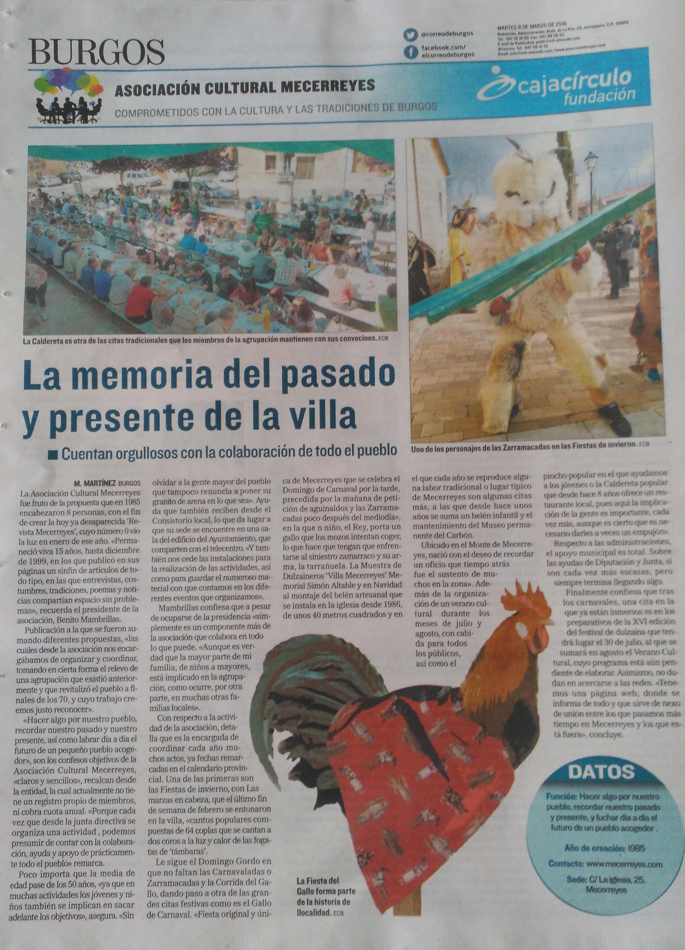 Asociación Cultural Mecerreyes, El Correo de Burgos, El Mundo, 8-03-2016