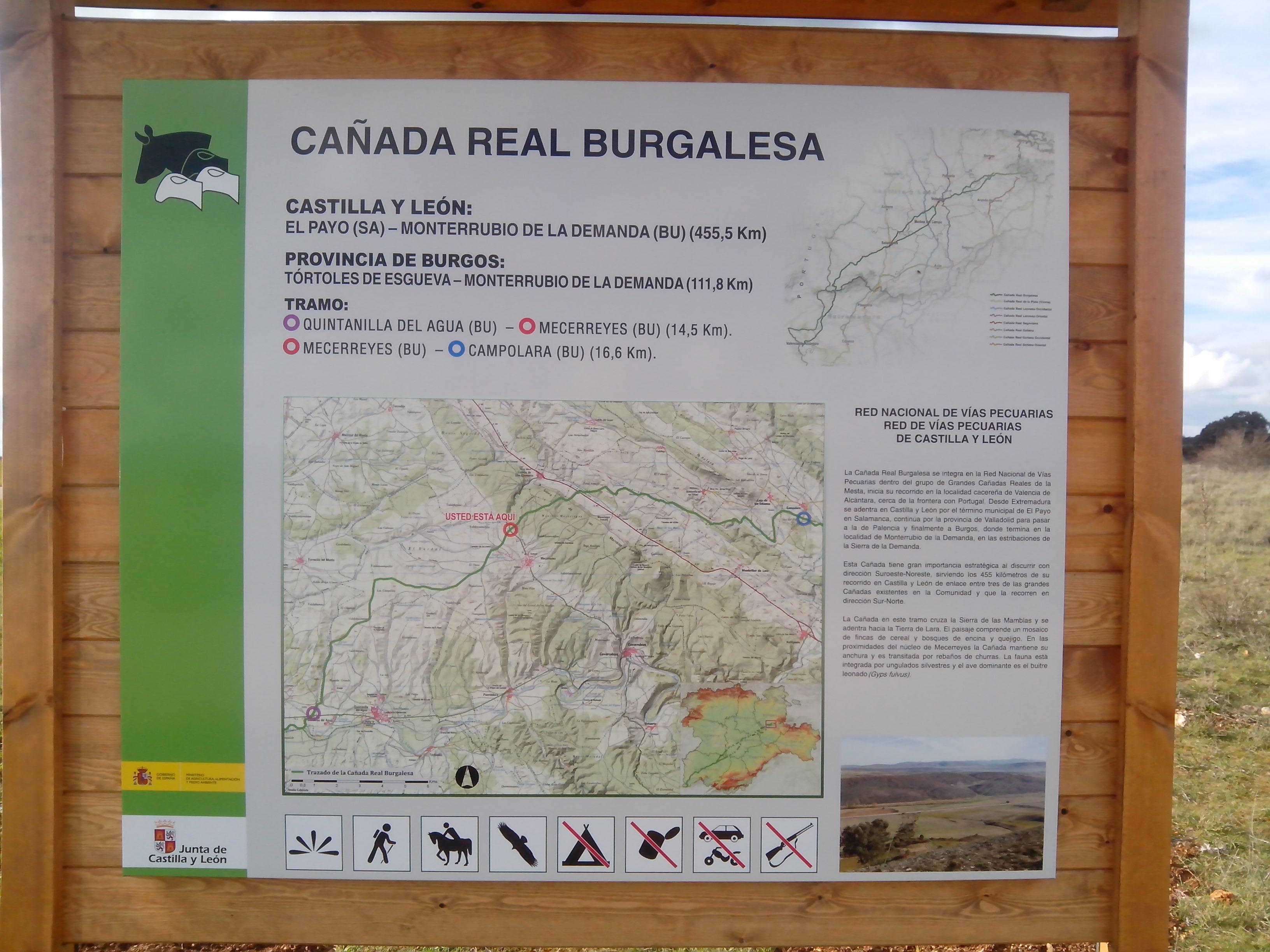Cartel, Cañada Real Burgalesa, Mecerreyes