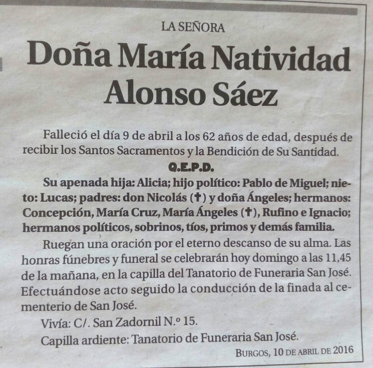 Esquela de Doña María Natividad Alonso Sáez, falleció el 9 de abril de 2016 en Burgos, a los 62 años