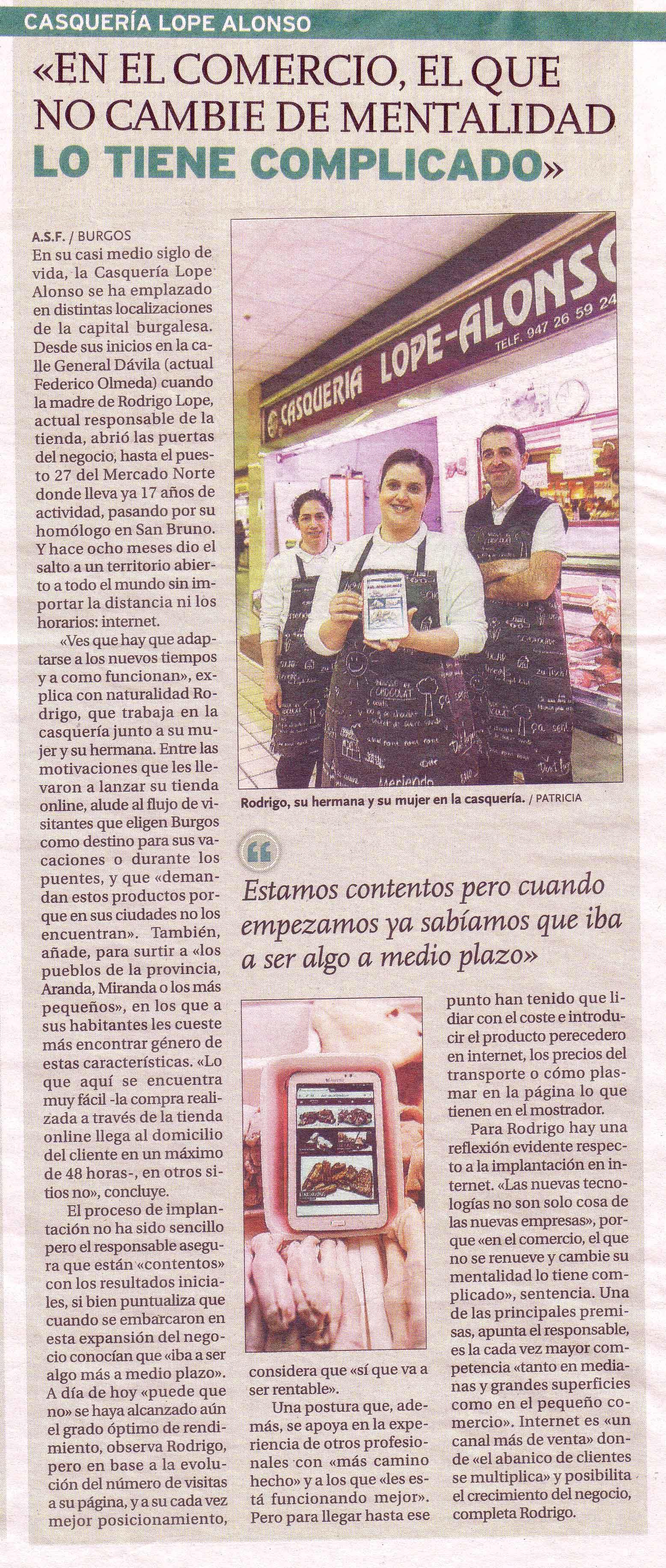 Casquería Lope Alonso, Diario de Burgos 3-05-2016