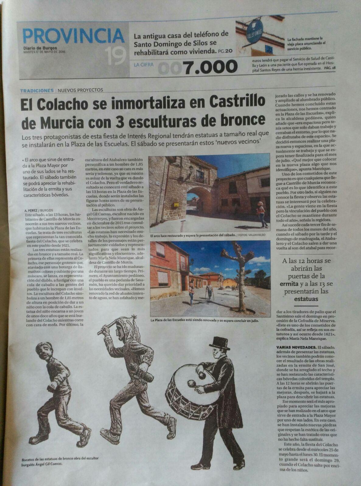 Diario de Burgos, 17-05-2016 - El Colacho - Escultor Ángel Gil, natural de Mecerreyes