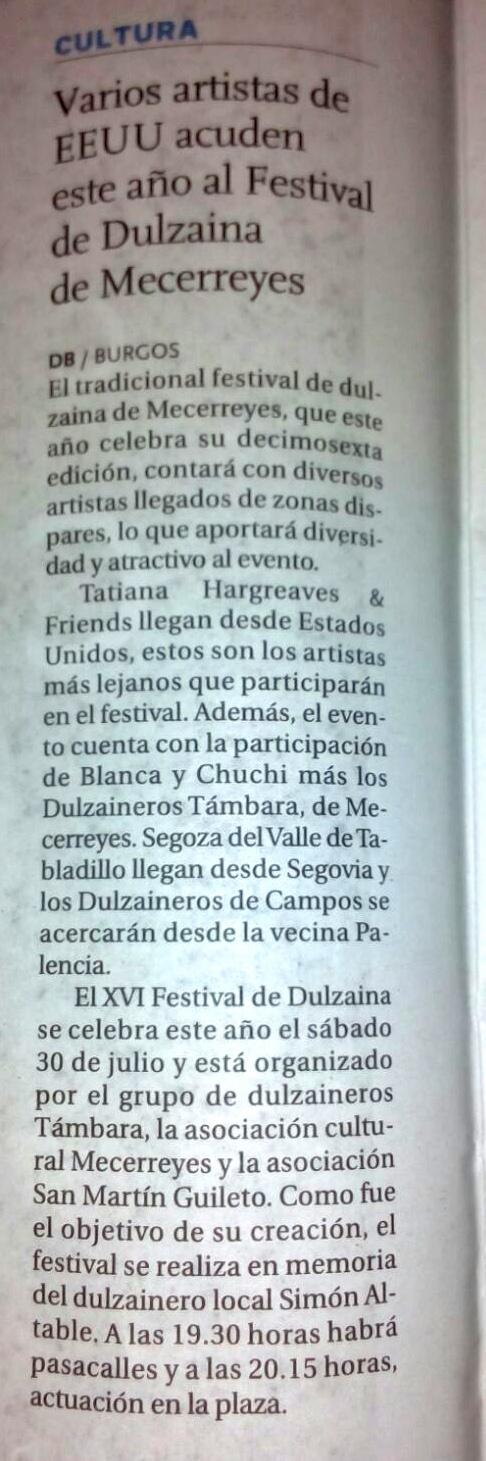 Diario de Burgos 19-07-2016, Mecerreyes Festival de Dulzaina