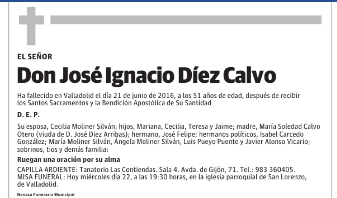 Esquela de José Ignacio Díez Calvo, Valladolid 21 de junio de 2016