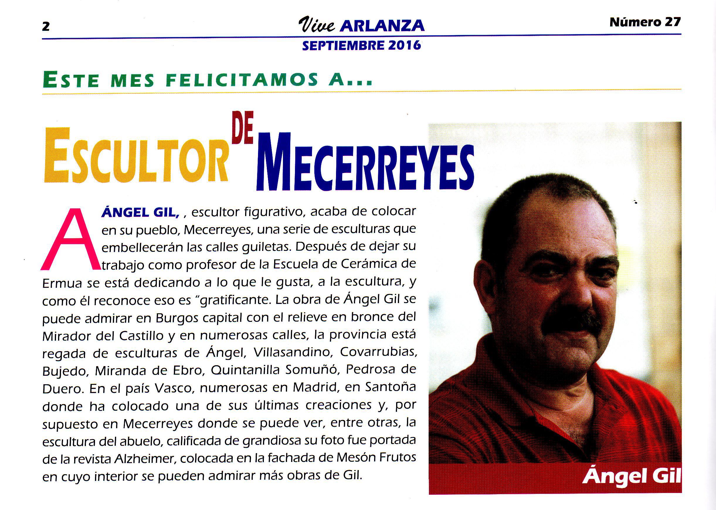 Revista Vive Arlanza - Ángel Gil, Escultor de Mecerreyes 2016