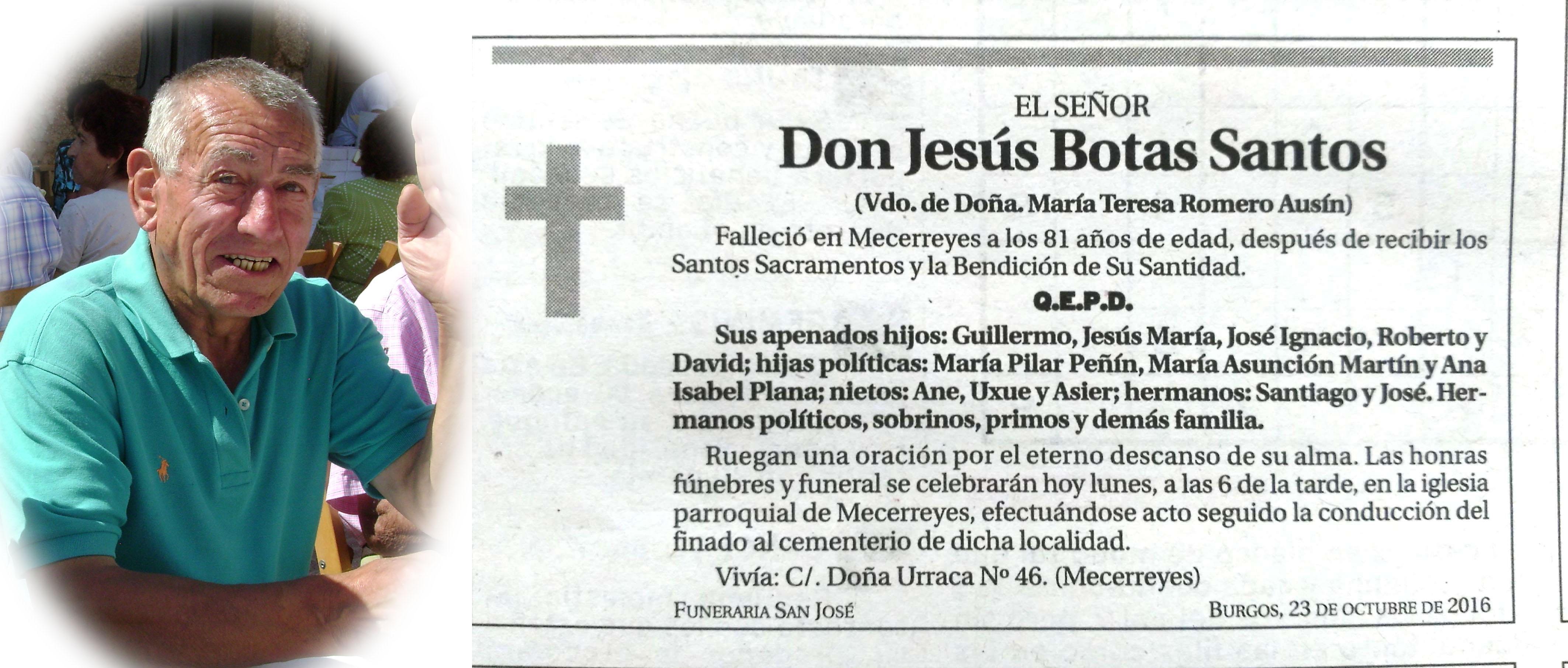 Jesús Botas Santos, falleció en Mecerreyes el 21 oct 2016 a los 81 años