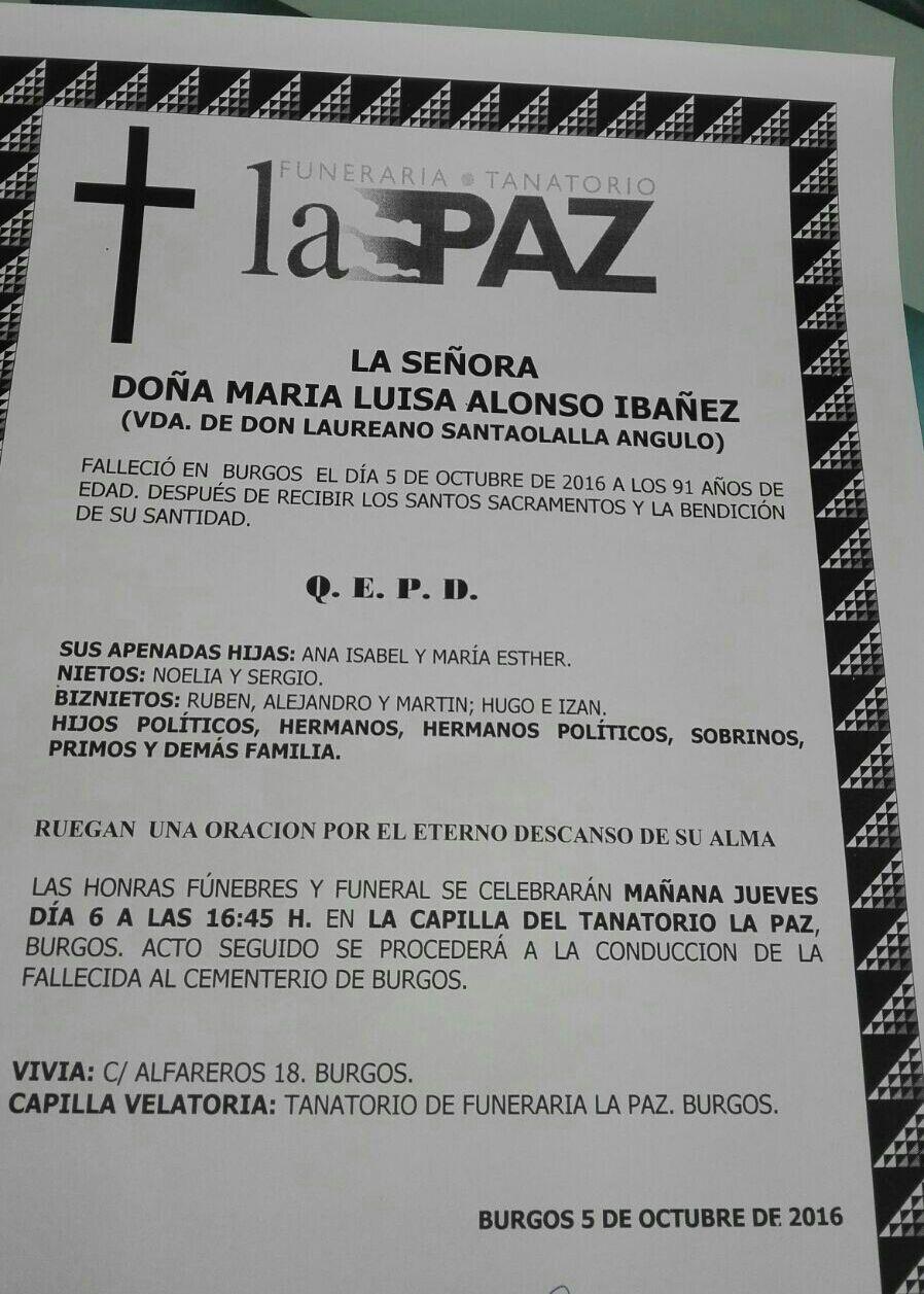MªLuisa Alonso Ibañez, falleció en Burgos el 05-10-2016