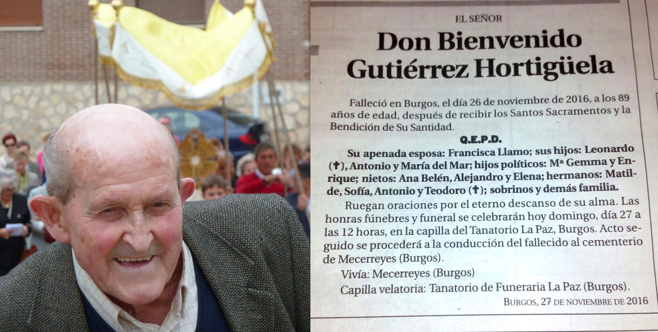 Bienvenido Gutiérrez Hortiguela, falleció en Burgos el 26 de noviembre de 2016, a los 89 años