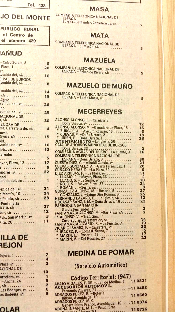 Mecerreyes, guía de teléfonos año 1976
