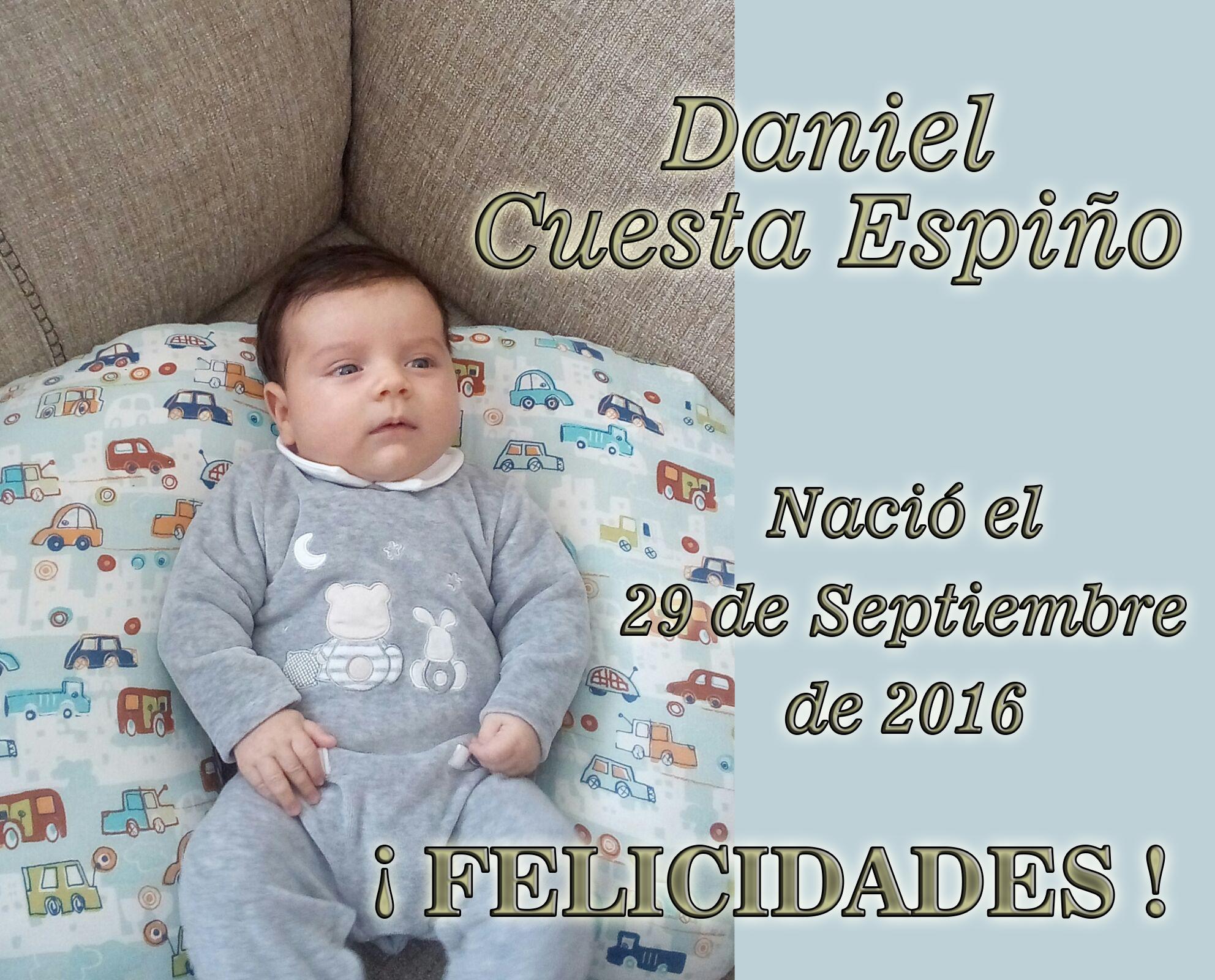 Nacimiento de Daniel Cuesta Espiño, el 29-09-2016