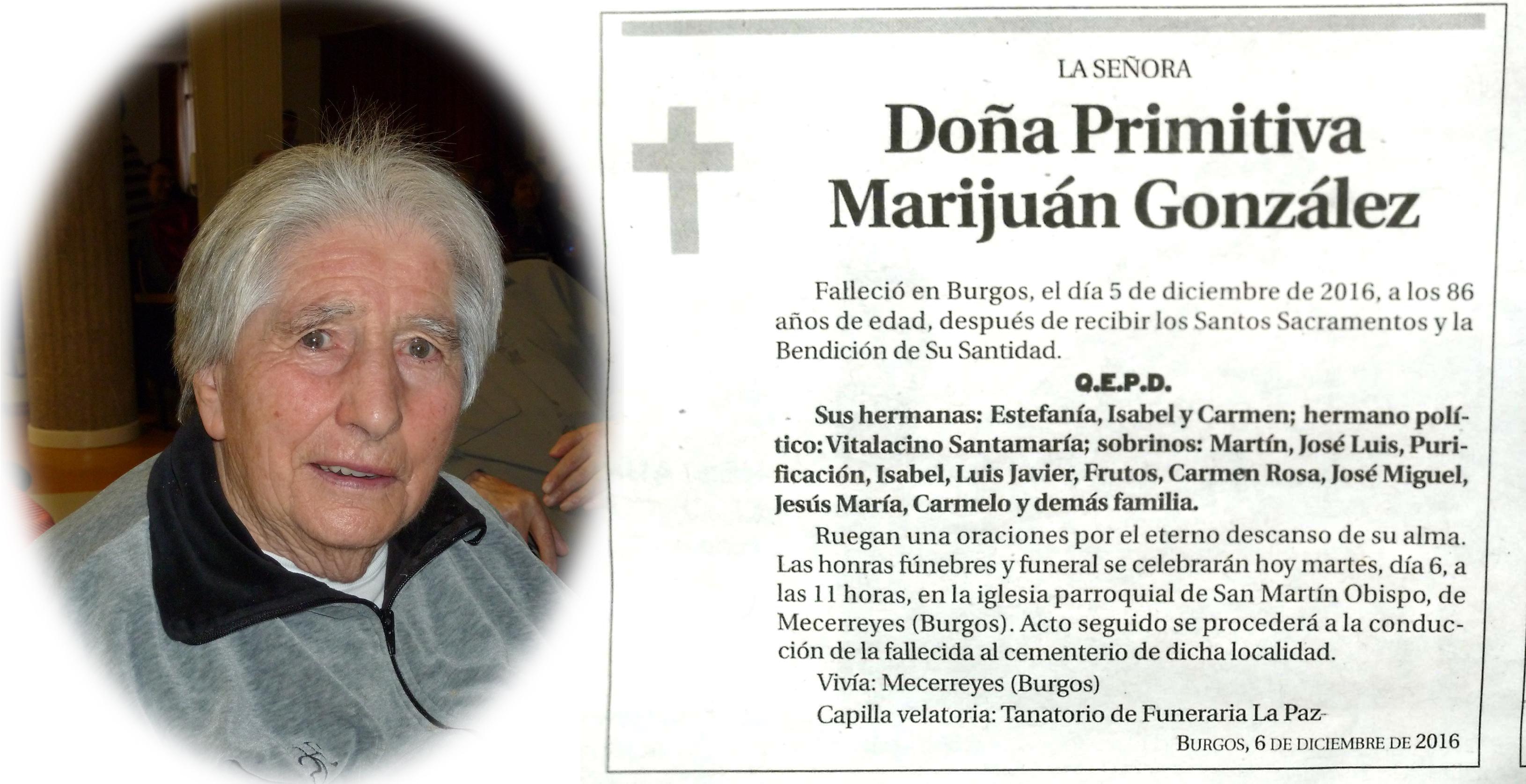 Esquela Primi Marijuan González, falleció el 5 de diciembre de 2016
